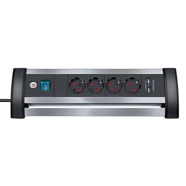 Удлинитель Alu-Office-Line, 1,8м, 16A, 3600W, 2 розетки, 2 USB порта - 5V 2100 mA, H05VV-F 3G1,5кв.мм. / 1394000514