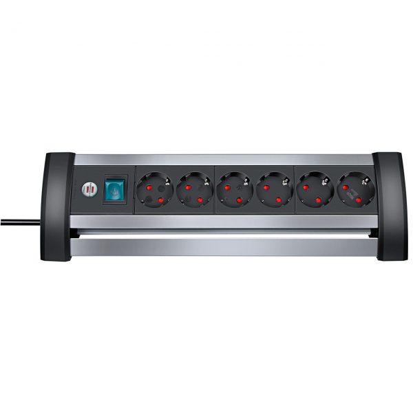 Удлинитель Alu-Office-Line, 3м, 16А, 3600Вт., 6 розеток с выключателем, кабель 3м H05VV-F 3G1,5кв.мм. / 1394000416