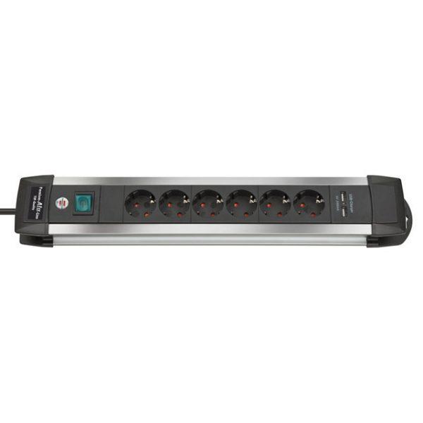 Удлинитель Premium Alu-Line, 3м, 16А, 3600Вт., 6 розеток с выключателем, кабель H05VV-F 3G1,5кв.мм., 2 USB порта - 5V, 2100 mA / 1391000516