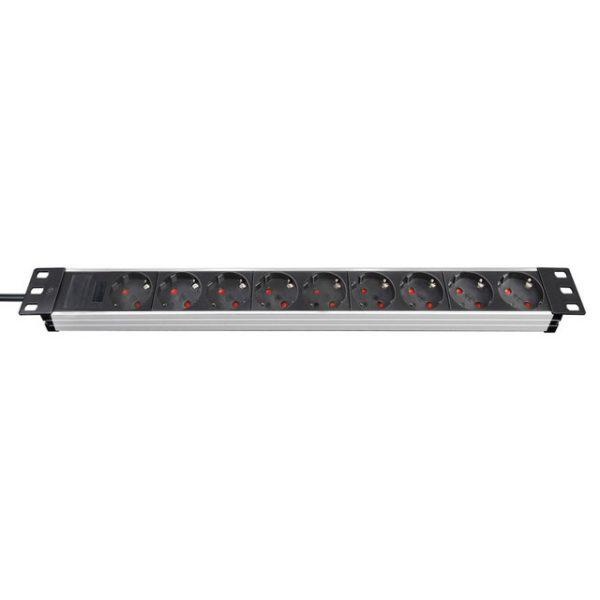 """Удлинитель Alu-Line 19""""для серверных шкафов, 2м, 16А, 3600Вт, 9 гнезд, кабель H05VV-F 3G1,5кв.мм. / 1390007009"""