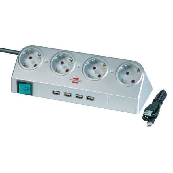 Удлинитель настольный, серебристый, 1,8м, 16А, 3600Вт., 4 розетки с выключателем, USB 2.0-Hub 4 порта, кабель H05VV-F 3G1.5кв.мм. / 1153540134
