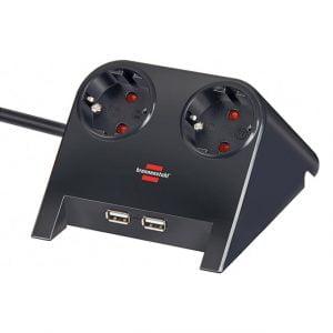 Удлинитель настольный, черный, 1,8м, 16А, 3600Вт., 2 розетки, 2 USB порта - 5V 2100 mA, кабель H05VV-F 3G1.5кв.мм. / 1153500222