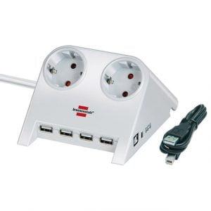 Удлинитель настольный, белый, 1,8м, 16А, 3600Вт., 2 розетки, USB 2.0-Hub 4 порта, кабель H05VV-F 3G1.5кв.мм. / 1153520122