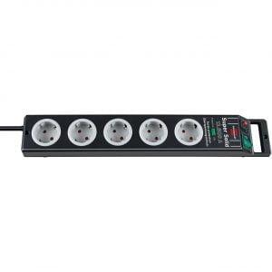 Сетевой фильтр Super-Solid, 13.500А, 2,5м, 5 розеток с выключателем, кабель H05VV-F 3G1,5кв.мм.