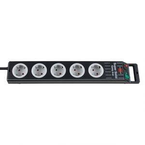 Удлинитель Super-Solid-Line, 2,5м, 16А, 3600Вт., 5 розеток с выключателем, кабель H05VV-F 3G1,5кв.мм., черно-серый / 1153380115