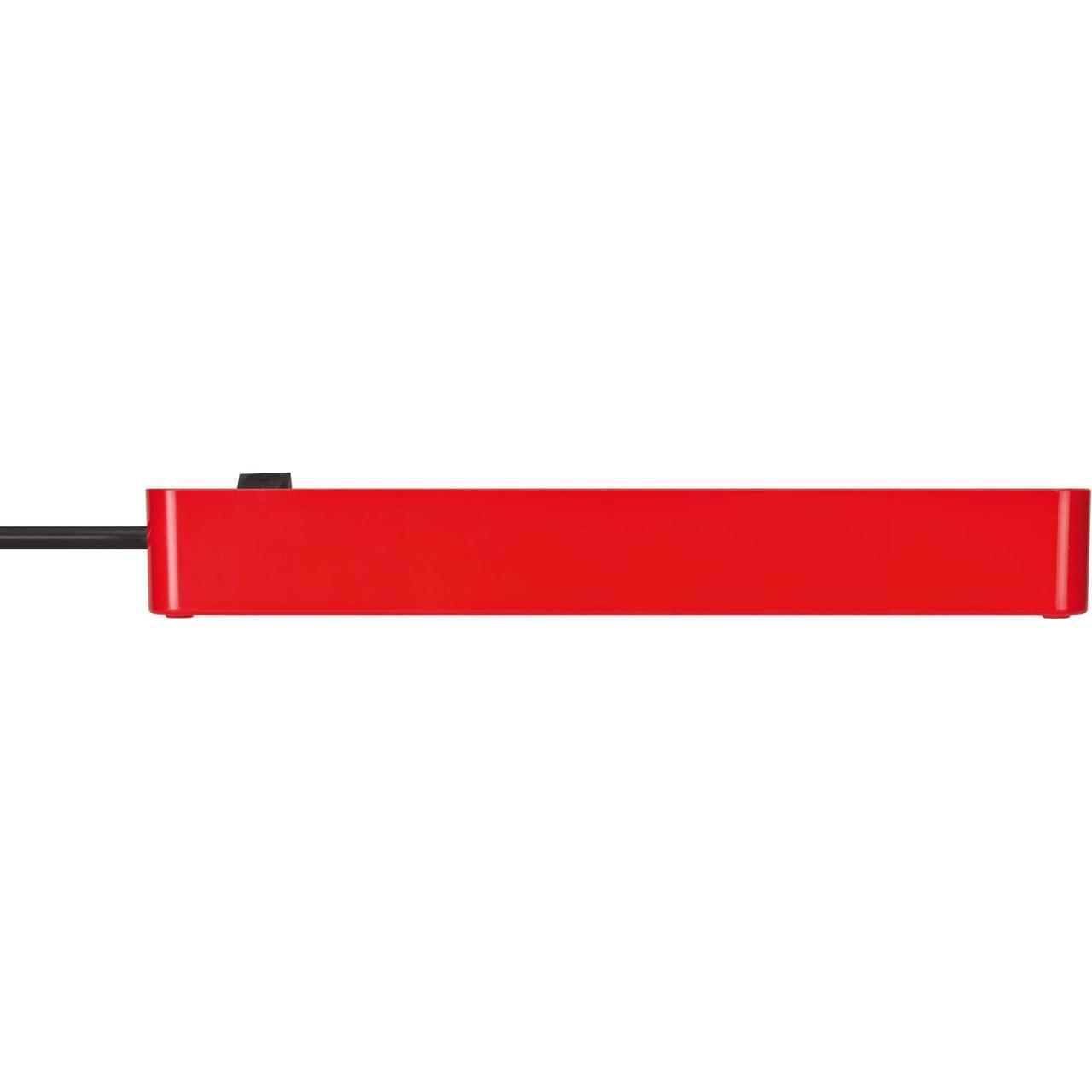 Удлинитель Brennenstuhl Ecolor, красный, 1,5м, 16А, 3600Вт., 6 розеток с выключателем, кабель H05VV-F 3G1,5кв.мм.