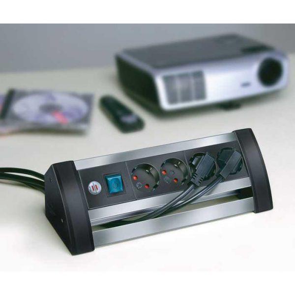 Удлинитель Alu-Office-Line, 1,8м, 16А, 3600Вт., 4 розетки с выключателем, кабель H05VV-F 3G1,5кв.мм. / 1394000414