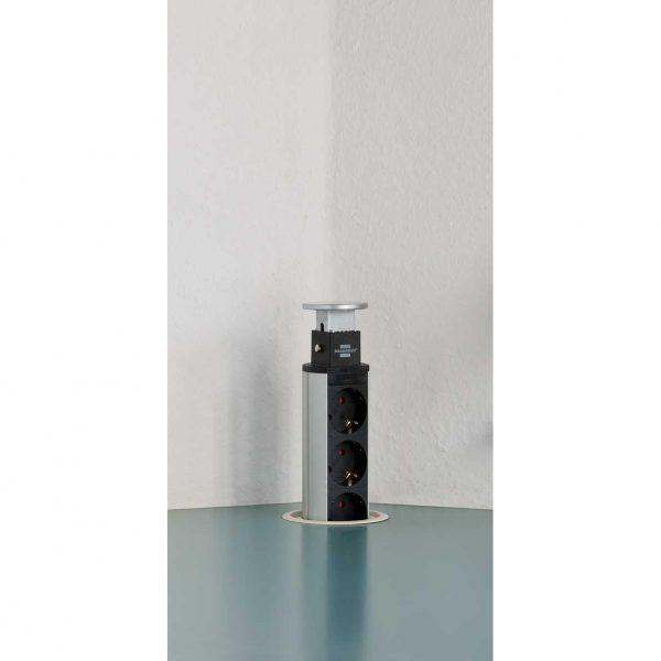 Удлинитель-башня настольный, 2м, 16А, 3600Вт.3 розетки с выключателем, 2 USB порта - 5V 2100 mA, кабель H05VV-F 3G1,5кв.мм. / 1396200013