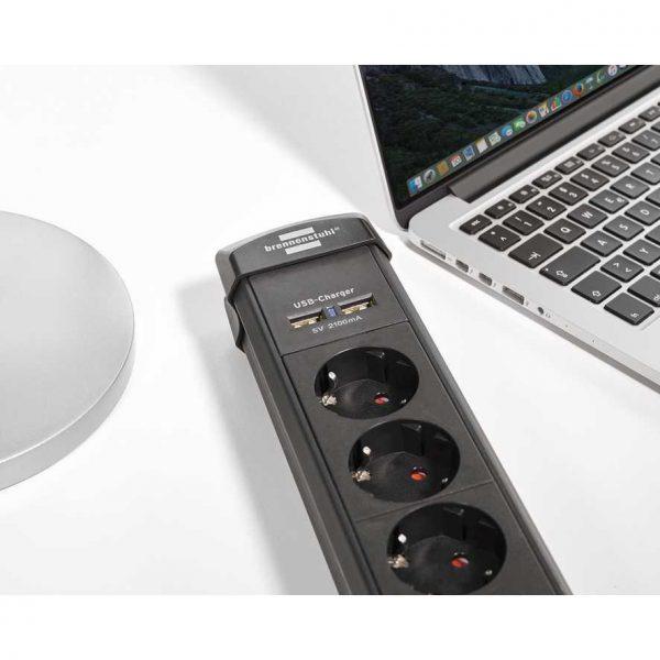 Удлинитель Brennenstuhl Premium-Line, 3м, 16А, 3600Вт., 6 розеток с выключателем, кабель H05VV-F 3G1,5кв.мм., 2 USB порта - 5V 2100 m / 1951160601