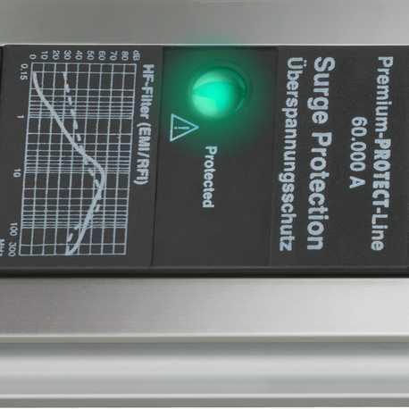 Сетевой фильтр Premium Protect-Line, 60.000А, 3м, 6 розеток с выключателем, кабель H05VV-F 3G1,5кв.мм., 2 USB порта - 5V 2100 mA
