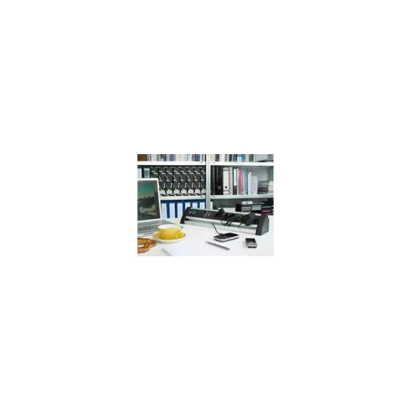 Сетевой фильтр Alu-Office-Line, 60.000A, 3м, 6 розеток с выключателем, кабель H05VV-F 3G1,5кв.мм.