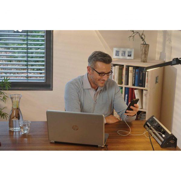 Сетевой фильтр Alu-Office-Line, 60.000A, 1,8м, 4 розетки с выключателем, 2 USBпорта - 5V 2100 mA.