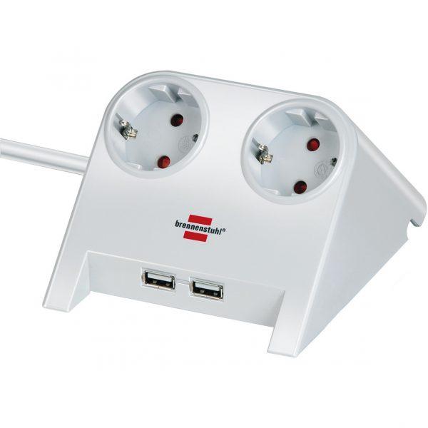 Удлинитель настольный, белый, 2 розетки, 2 USB порта - 5V 2100 mA / 1153520222