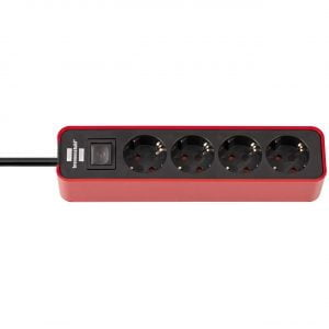 Удлинитель Ecolor, красный, 1,5м, 16А, 3600Вт., 4 розетки с выключателем / 1153240070