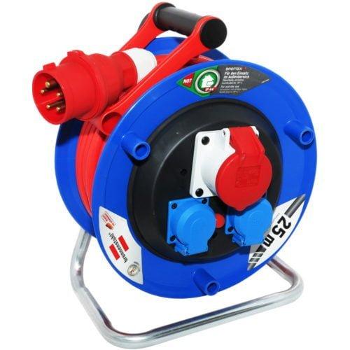 Удлинитель на катушке Garant CEE 1, 1 роз. 400В / 16А; 2 роз.230В / 16А, IP44, кабель 25м AT-N07V3V3-F 5G1,5