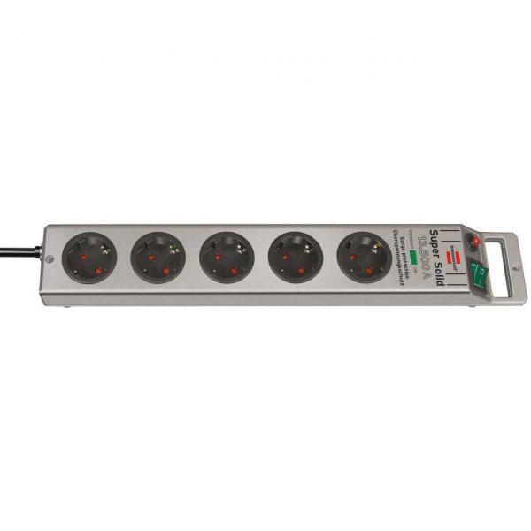 Сетевой фильтр Super-Solid, серебристый, 2,5м, 5 розеток, 3500Вт / 1153340315
