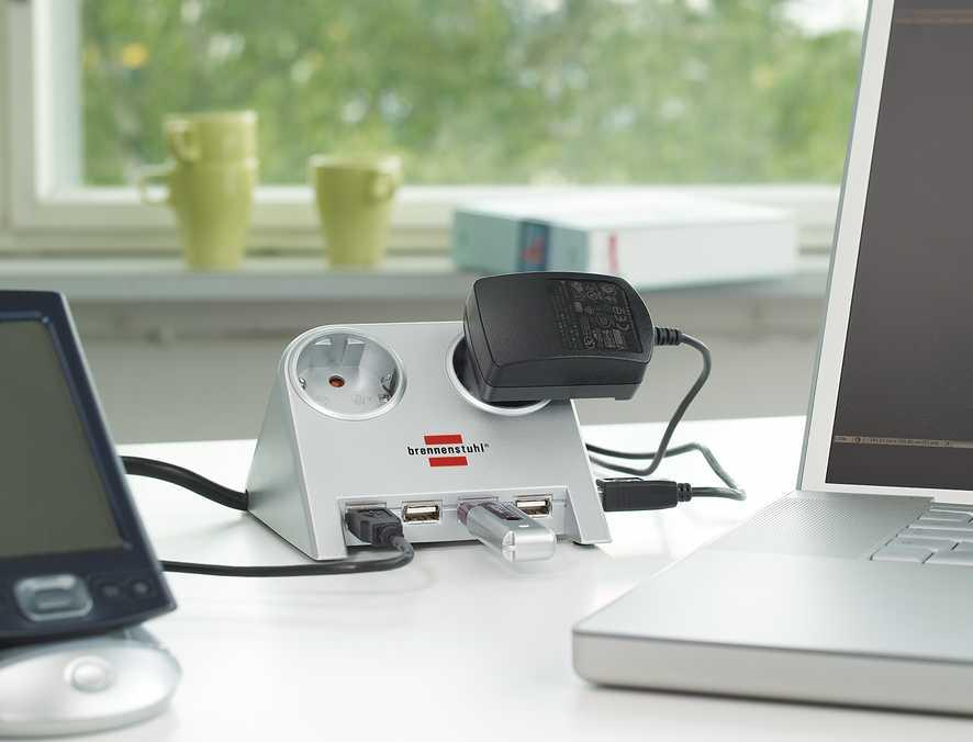 Удлинитель настольный, белый, 1,8м, 16А, 3600Вт., 2 розетки, 2 USB порта - 5V 2100 mA, H05VV-F 3G1,5кв.мм. / 1153500122